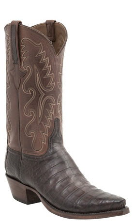 Lucchese Classics E2197 Mens Barrel Brown Burnished Belly Caiman Crocodile Boots