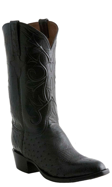 Lucchese Classics E2199 Mens Black Smooth Ostrich Boots