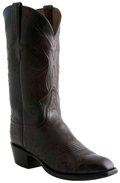 Lucchese Classics E2200 Mens Black Cherry Smooth Ostrich Boots