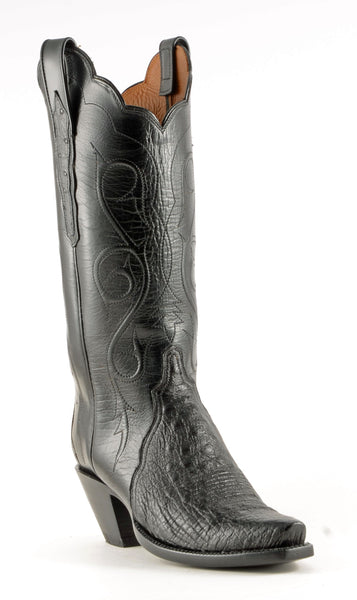 Lucchese Classics E2204 Womens Black Smooth Ostrich Boots