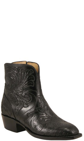 Lucchese Classics F5467 Womens Black California Floral Hand Tooled Pony Boots