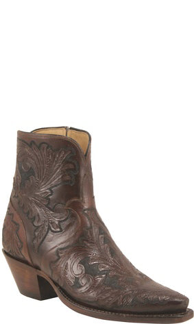Lucchese Classics F5468 Womens Mahogany and Black California Floral Hand Tooled Pony Boots