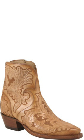 Lucchese Classics F5469 Womens Caramel California Floral Hand Tooled Boots