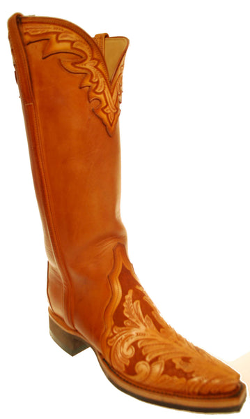 Lucchese Classics GC6960.58 Womens Caramel Tooled Calfskin Boots Size 6 B STALL STOCK