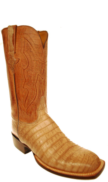 Lucchese Classics GC7203.W8 Mens Tan Burnished Caiman Belly Crocodile Boots Size 11 D STALL STOCK