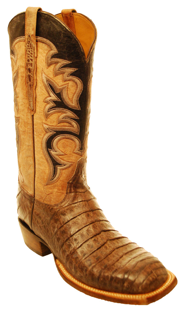 Lucchese Classics Chocolate Brown Caiman Crocodile Belly Stonewashed Mens Boots 11 D
