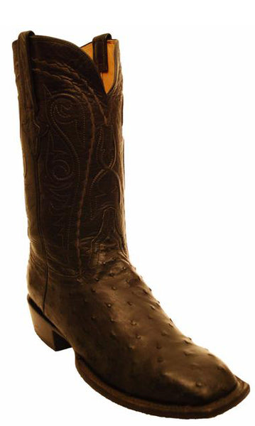 Lucchese Classics GC7205.W8 Black Full Quill Ostrich Square Toe Mens Boots 10.5 D
