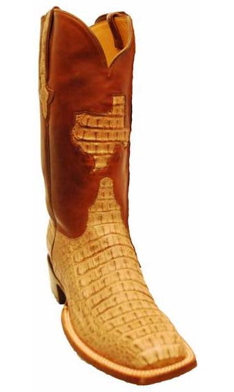 Lucchese Classics Tan Burnished Caiman Crocodile Body Cut 9.5 D