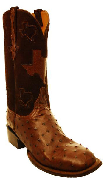 Lucchese Classics GC7207.W8 Sienna Brown Full Quill Ostrich with Texas Inlay Mens Boots 11 D