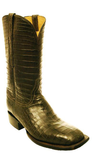 Lucchese Classics Grey Nile Crocodile Belly All Over Sqaure Toe Boots Mens 11 D