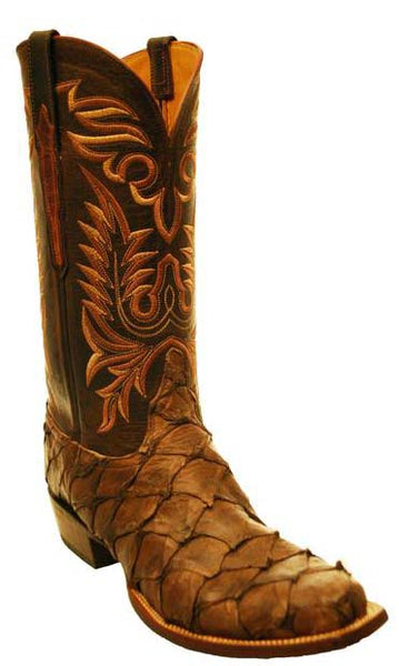 Lucchese Classics Chocolate Brown Pirarucu Mens Cowboy Boots 10 D STALL STOCK