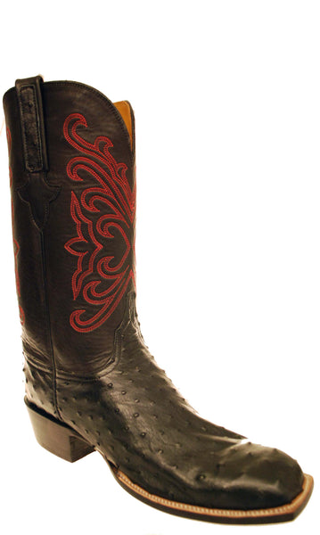 Lucchese Classics GC7997.W3 Mens Black Full Quill Ostrich Boots Size 12 D STALL STOCK