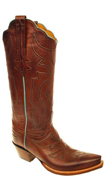 Lucchese Classics GD3280.S54 Womens Tan Burnished Ranch Hand Calfskin Boots Size 7.5 C STALL STOCK