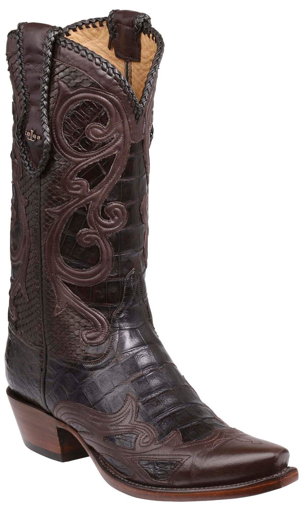 Lucchese GY1001.53 WESTON Chocolate Ultra Belly Caiman Crocodile Boots