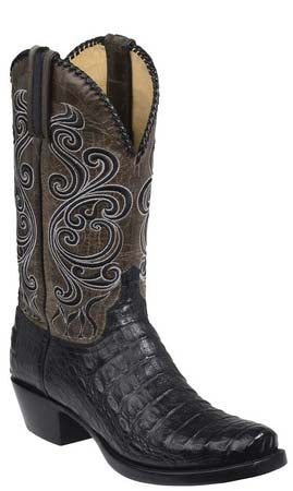 Lucchese BODIE GY1002.73 Black Burnished Hornback Caiman Crocodile Mens Boots