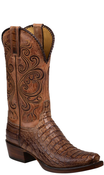 Lucchese BODIE GY1003.73 Tan Burnished Hornback Caiman Crocodile Mens Boots Size 9 D STALL STOCK