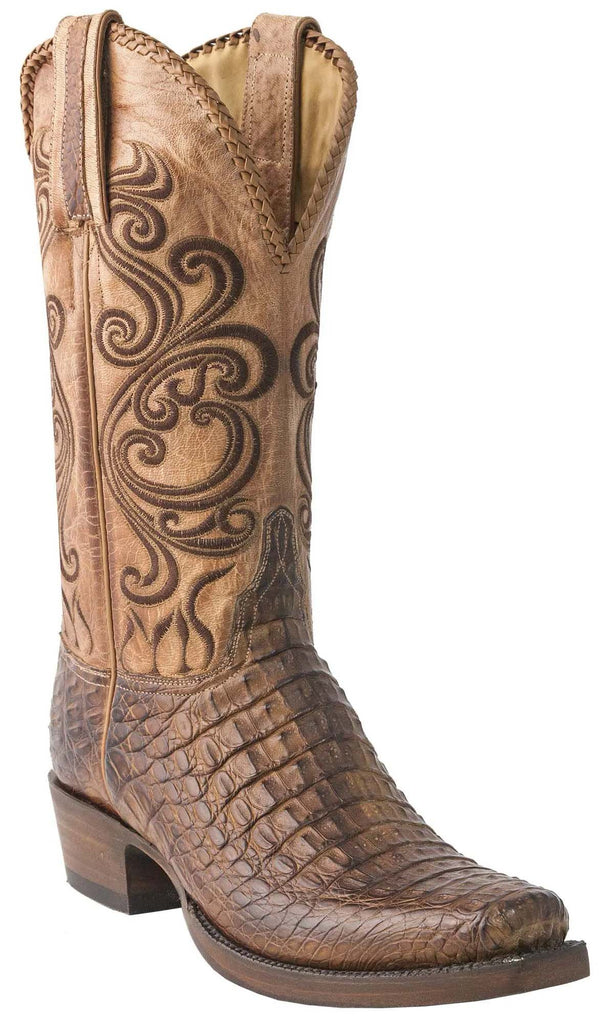 Lucchese Bodie Mens Tan Burnished Hornback Caiman Crocodile Boots GY1003.73