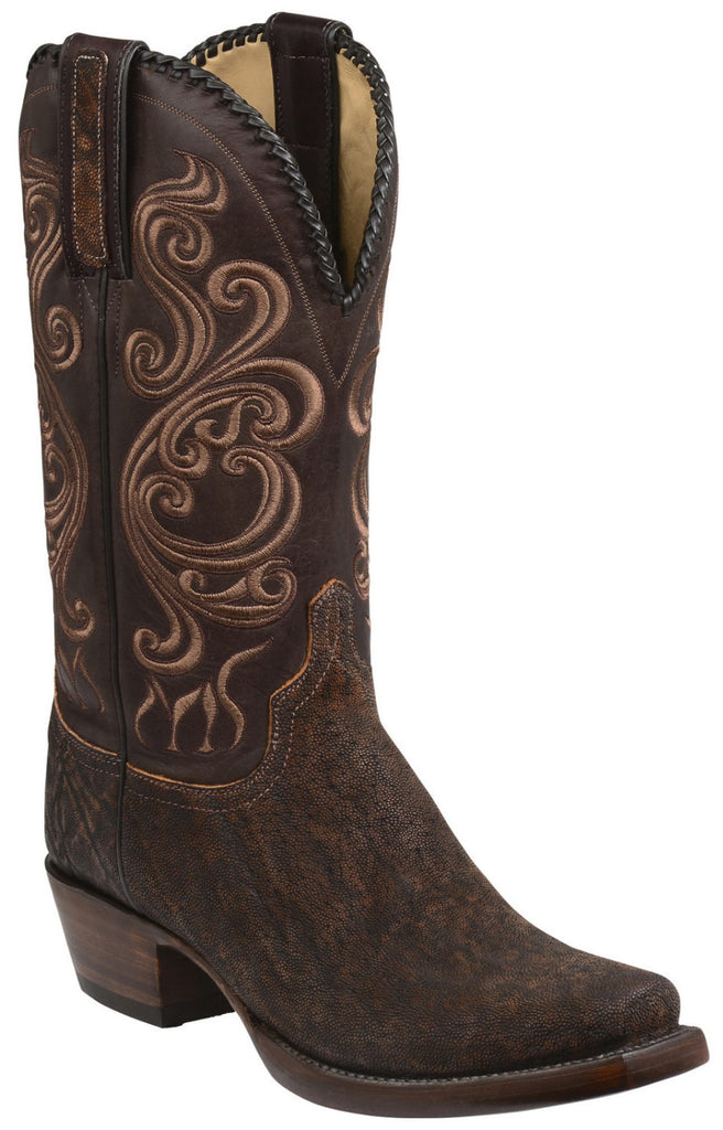 Lucchese GY1005.73 TERLINGUA Mens Cognac and Chocolate Elephant Boots