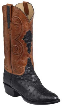 Lucchese Randall Mens Black Full Quill Ostrich Boots GY1007