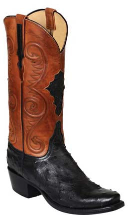 Lucchese RANDALL GY1007.73 Mens Black Full Quill Ostrich Boots