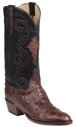 Lucchese Randall Mens Pecan Burnished Full Quill Ostrich Boots GY1009.63