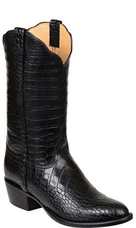 Lucchese Baron Mens All-Over Black American Alligator Boots GY1013