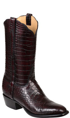 Lucchese Baron GY1014 Mens All Over Black Cherry American Alligator Boots