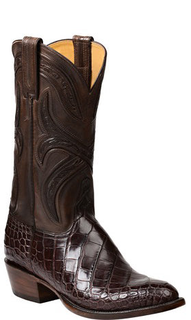Lucchese GY1015 FORDE Mens Chocolate Alligator Boots