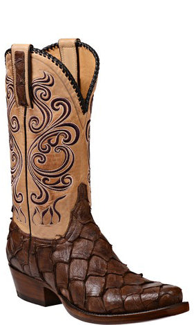 Lucchese BEAU GY1019 Mens Chocolate Pirarucu Boots