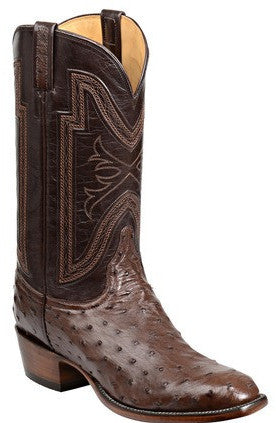 Lucchese GY1022 HUGH Mens Sienna Full Quill Ostrich Boots