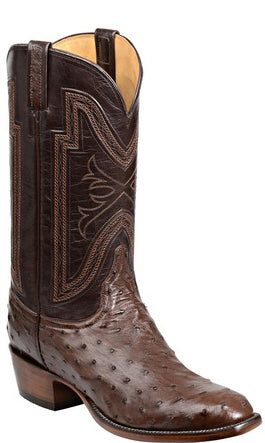 Lucchese Hugh GY1022 Mens Sienna Full Quill Ostrich Boots
