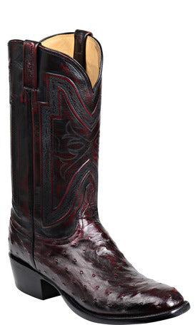 Lucchese HUGH GY1023 Mens Black Cherry Full Quill Ostrich Boots