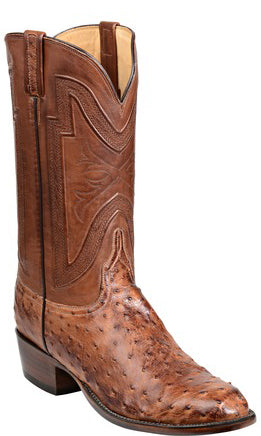Lucchese GY1024 HUGH Mens Barnwood Burnished Full Quill Ostrich Boots