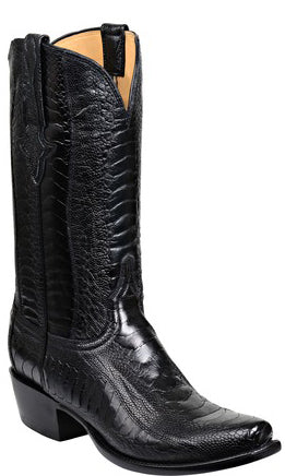 Lucchese ANDERSON GY1025 Mens Black Ostrich Leg Boots