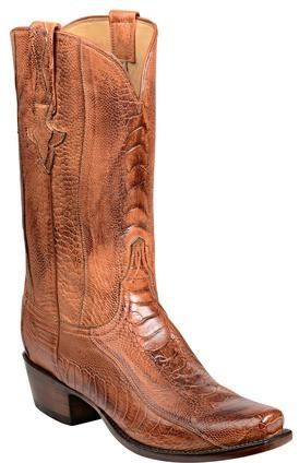 Lucchese Anderson GY1026.73 Mens Brandy Burnished Ostrich Leg Boots