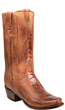 Lucchese ANDERSON GY1026 Mens Brandy Burnished Ostrich Leg Boots