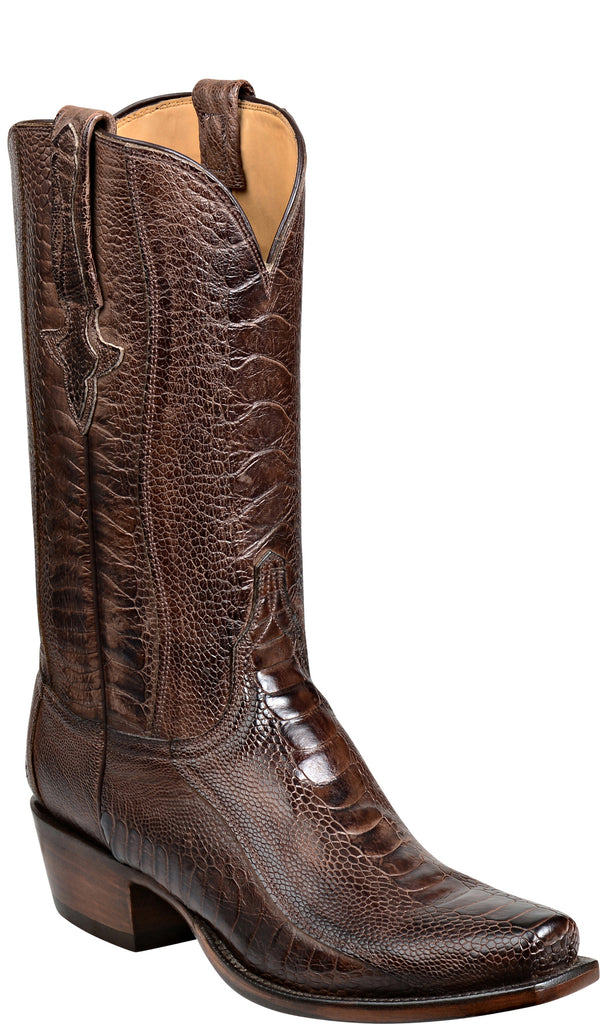 Lucchese Anderson Mens Chocolate Burnished Ostrich Leg Boots GY1027 Classics
