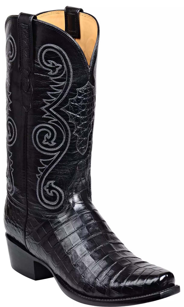 Lucchese Jones GY1028.73 Mens Black Ultra Belly Caimain Crocodile Boots