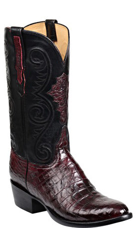 Lucchese JONES GY1029.63 Mens Black Cherry Ultra Belly Caimain Crocodile Boots