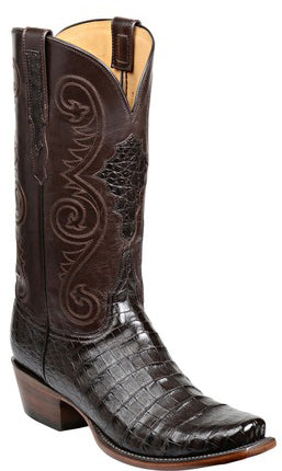 Lucchese Jones GY1030.73 Mens Chocolate Ultra Belly Caiman Crocodile Boots