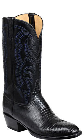 Lucchese GY1034 KIP Mens Black Lizard Boots
