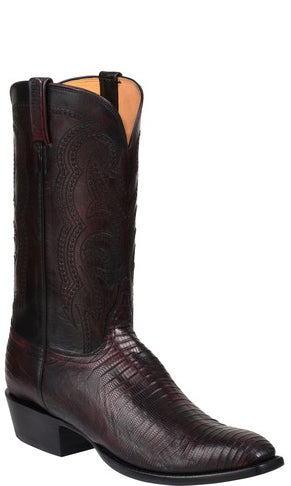 Lucchese Kip GY1036 Mens Black Cherry Lizard Boots