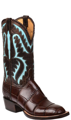 Lucchese DEREK GY1041.S3 Mens Chocolate Giant American Alligator Boots Size 10.5 D STALL STOCK
