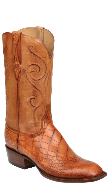 Lucchese Colton GY1045 Mens Cognac American Alligator Boots