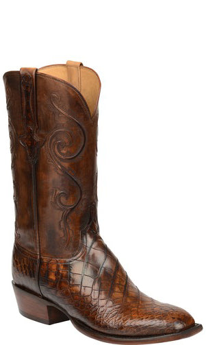 Lucchese Colton GY1046.S3 Mens Chocolate American Alligator Boots Size 11.5 D STALL STOCK
