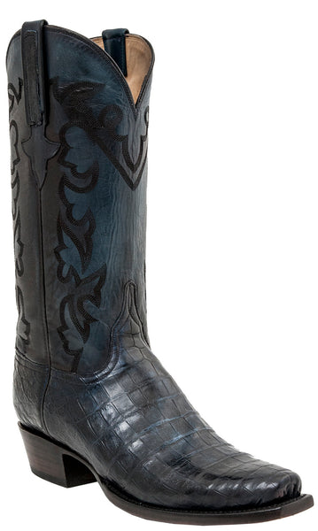 Lucchese CASH GY1049 Mens Anitque Navy Royal Belly Caiman Crocodile Boots