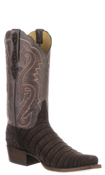 Lucchese OWEN GY1062.73 Mens Nicotine Sueded Caiman Crocodile Belly Boots Size 11.5 D STALL STOCK