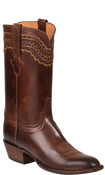 Lucchese Devin GY1518 Mens Tan Burnished Ranch Hand Calfskin Boots