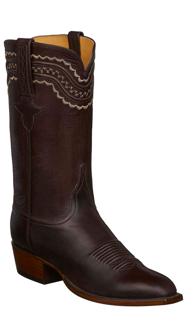 Lucchese GY1533.13 DEVIN Mens Chocolate Ranch Hand Calfskin Boots