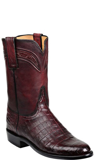 Lucchese Wilson GY3005.R9 Mens Black Cherry Ultra Belly Caimain Crocodile Boots